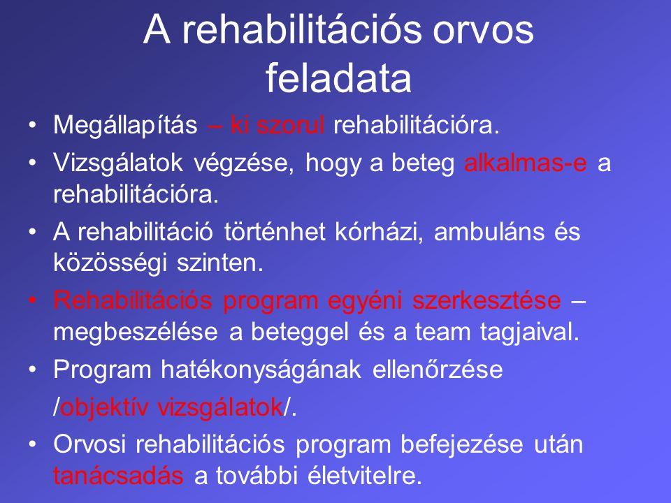 A rehabilitációs orvos feladata