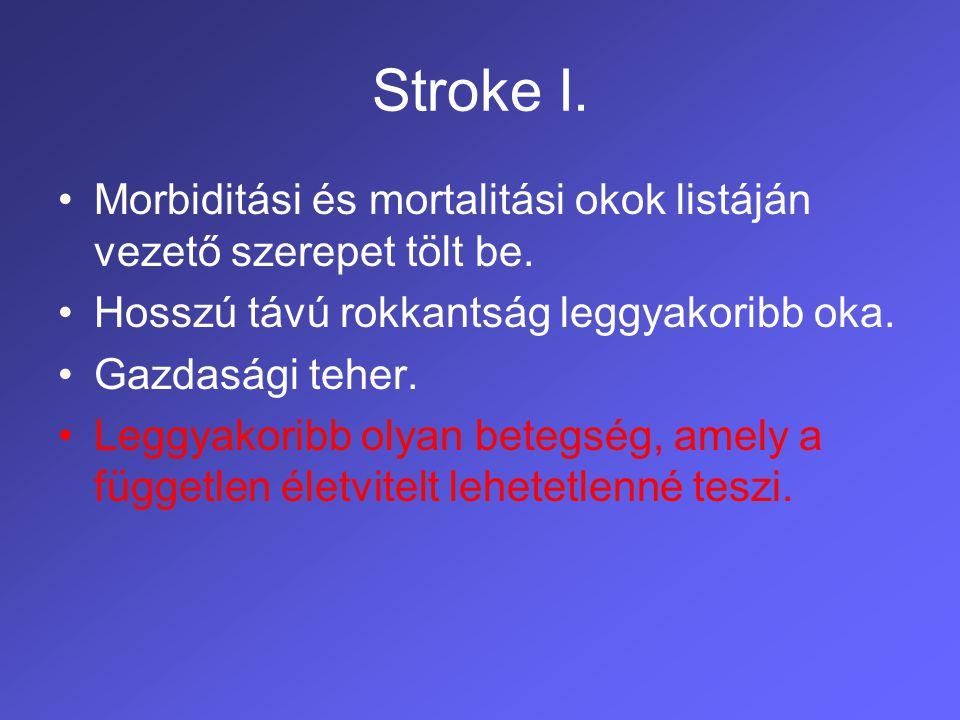 Stroke I. Morbiditási és mortalitási okok listáján vezető szerepet tölt be. Hosszú távú rokkantság leggyakoribb oka.