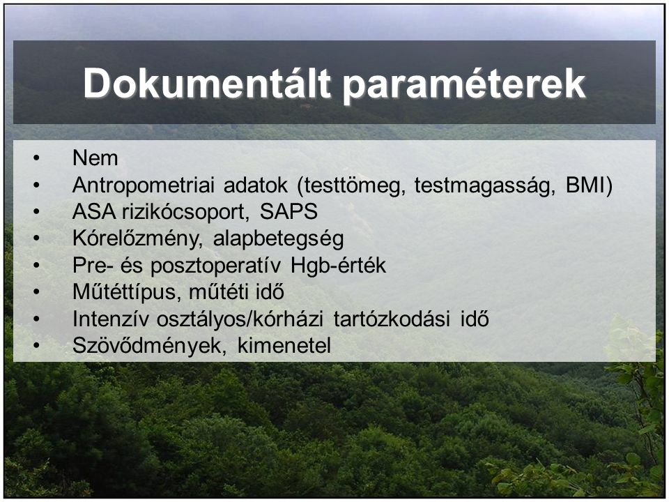 Dokumentált paraméterek