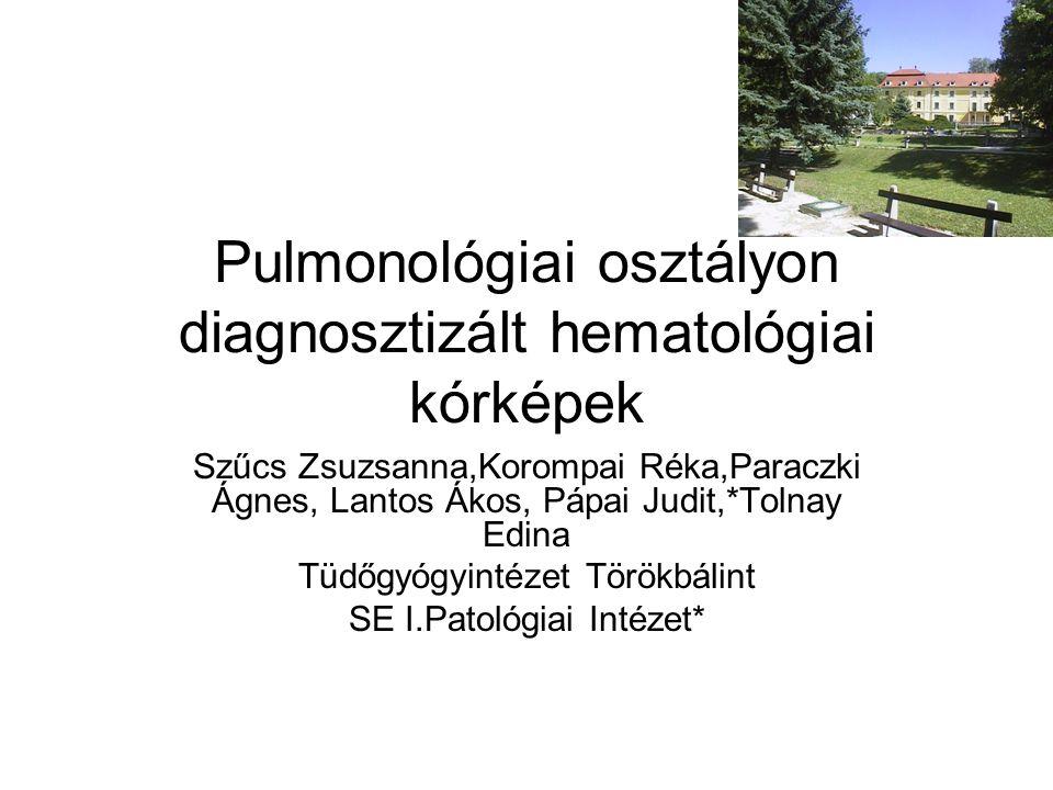 Pulmonológiai osztályon diagnosztizált hematológiai kórképek