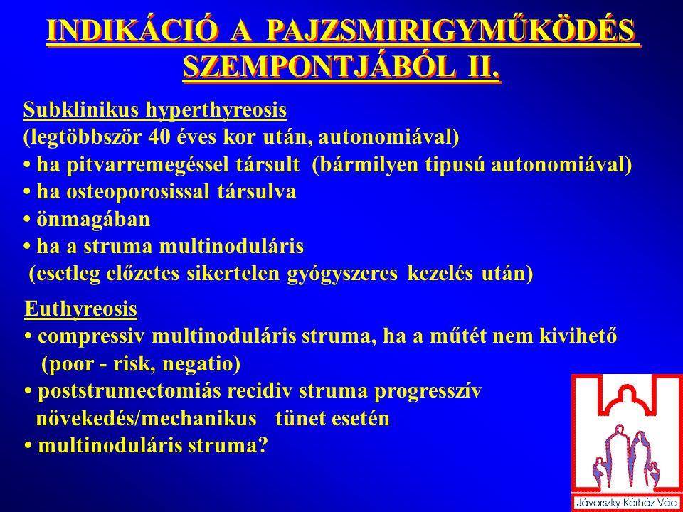 INDIKÁCIÓ A PAJZSMIRIGYMŰKÖDÉS SZEMPONTJÁBÓL II.
