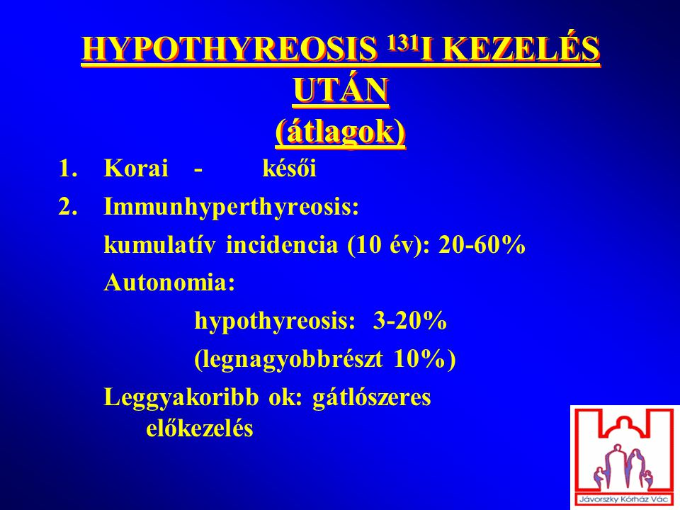 HYPOTHYREOSIS 131I KEZELÉS UTÁN (átlagok)