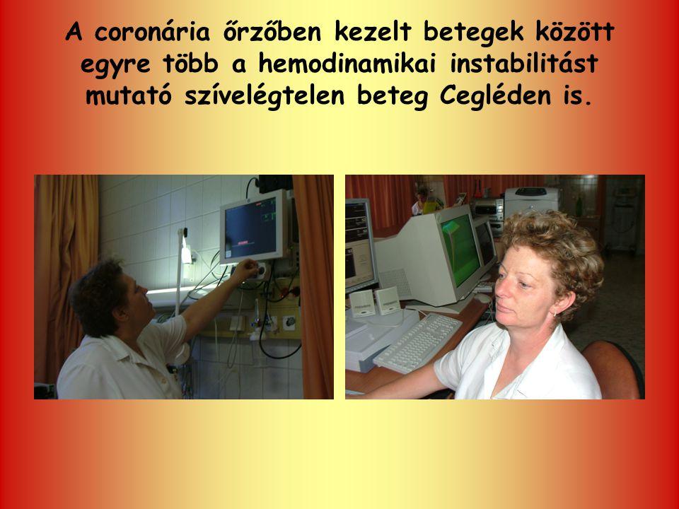 A coronária őrzőben kezelt betegek között egyre több a hemodinamikai instabilitást mutató szívelégtelen beteg Cegléden is.