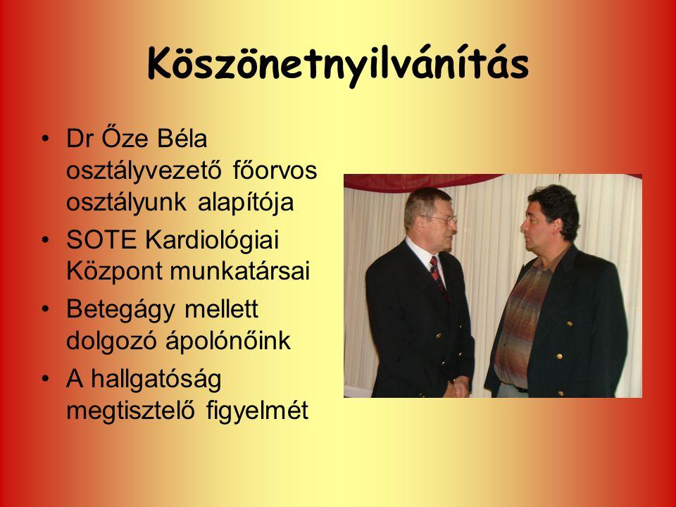 Köszönetnyilvánítás Dr Őze Béla osztályvezető főorvos osztályunk alapítója. SOTE Kardiológiai Központ munkatársai.
