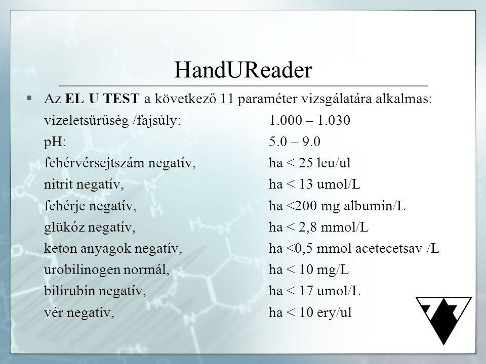 HandUReader Az EL U TEST a következő 11 paraméter vizsgálatára alkalmas: vizeletsűrűség /fajsúly: 1.000 – 1.030.