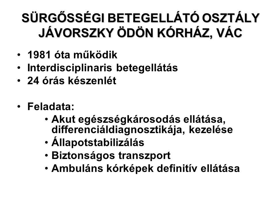 SÜRGŐSSÉGI BETEGELLÁTÓ OSZTÁLY JÁVORSZKY ÖDÖN KÓRHÁZ, VÁC