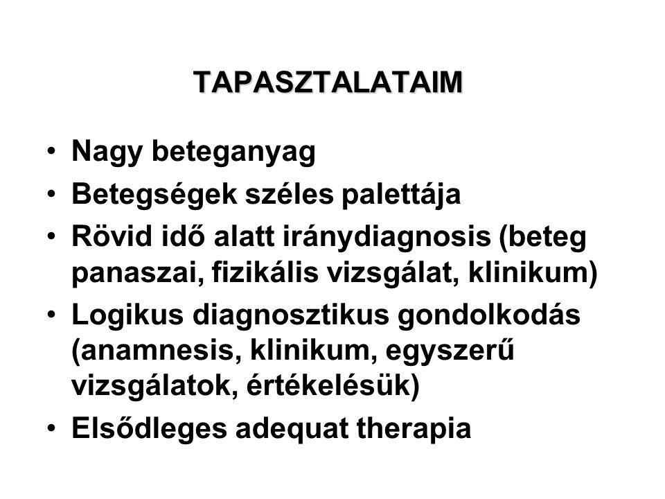 TAPASZTALATAIM Nagy beteganyag. Betegségek széles palettája. Rövid idő alatt iránydiagnosis (beteg panaszai, fizikális vizsgálat, klinikum)