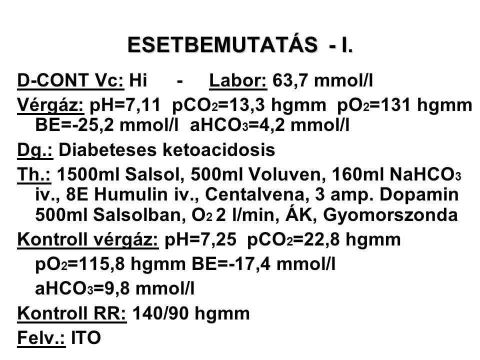 ESETBEMUTATÁS - I. D-CONT Vc: Hi - Labor: 63,7 mmol/l