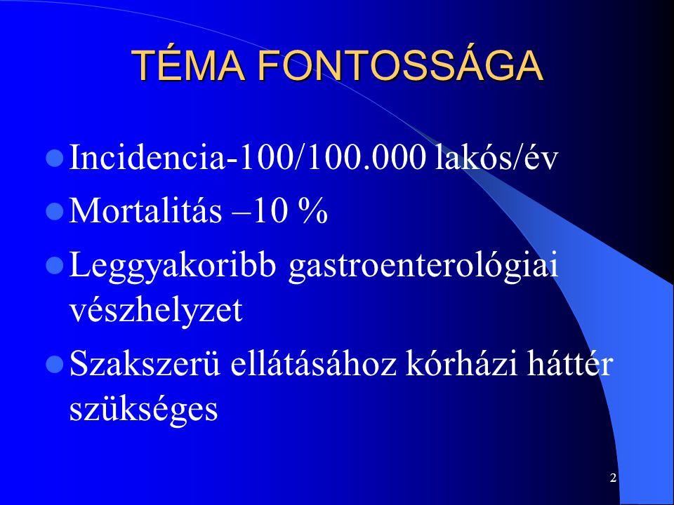 TÉMA FONTOSSÁGA Incidencia-100/100.000 lakós/év Mortalitás –10 %