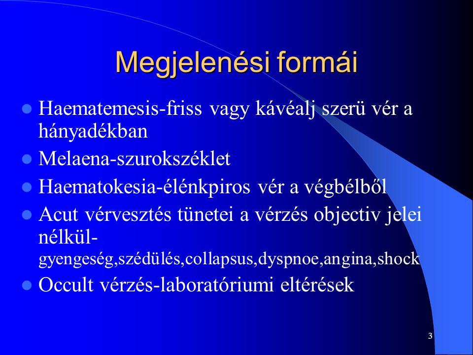Megjelenési formái Haematemesis-friss vagy kávéalj szerü vér a hányadékban. Melaena-szurokszéklet.