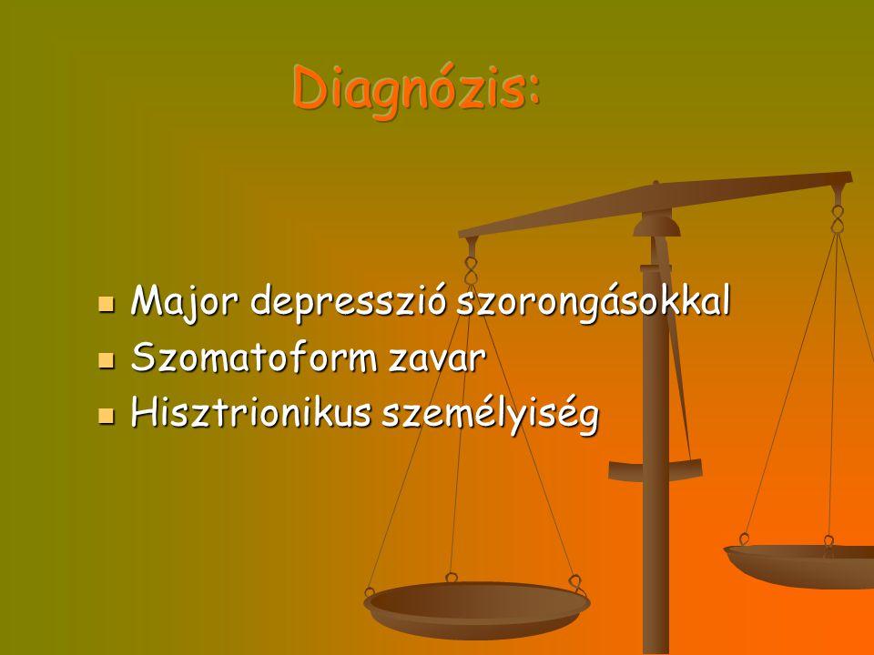 Diagnózis: Major depresszió szorongásokkal Szomatoform zavar