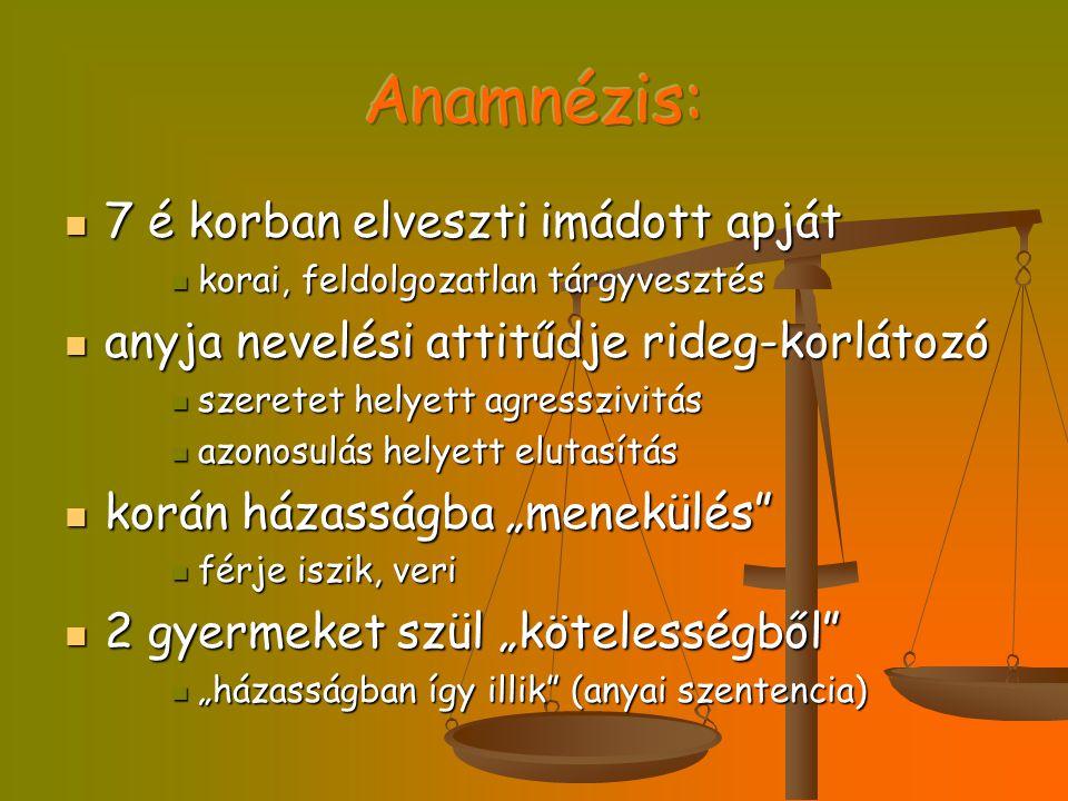 Anamnézis: 7 é korban elveszti imádott apját