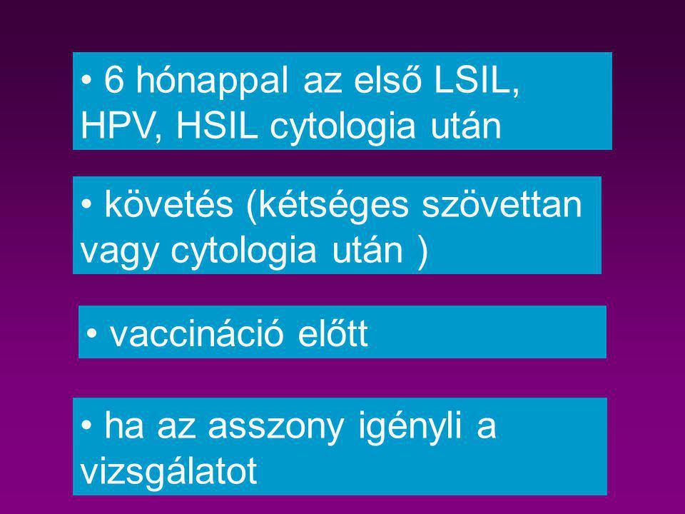 6 hónappal az első LSIL, HPV, HSIL cytologia után