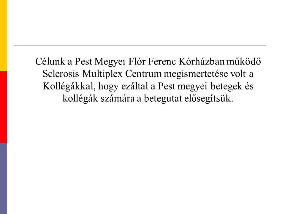 Célunk a Pest Megyei Flór Ferenc Kórházban működő Sclerosis Multiplex Centrum megismertetése volt a Kollégákkal, hogy ezáltal a Pest megyei betegek és kollégák számára a betegutat elősegítsük.
