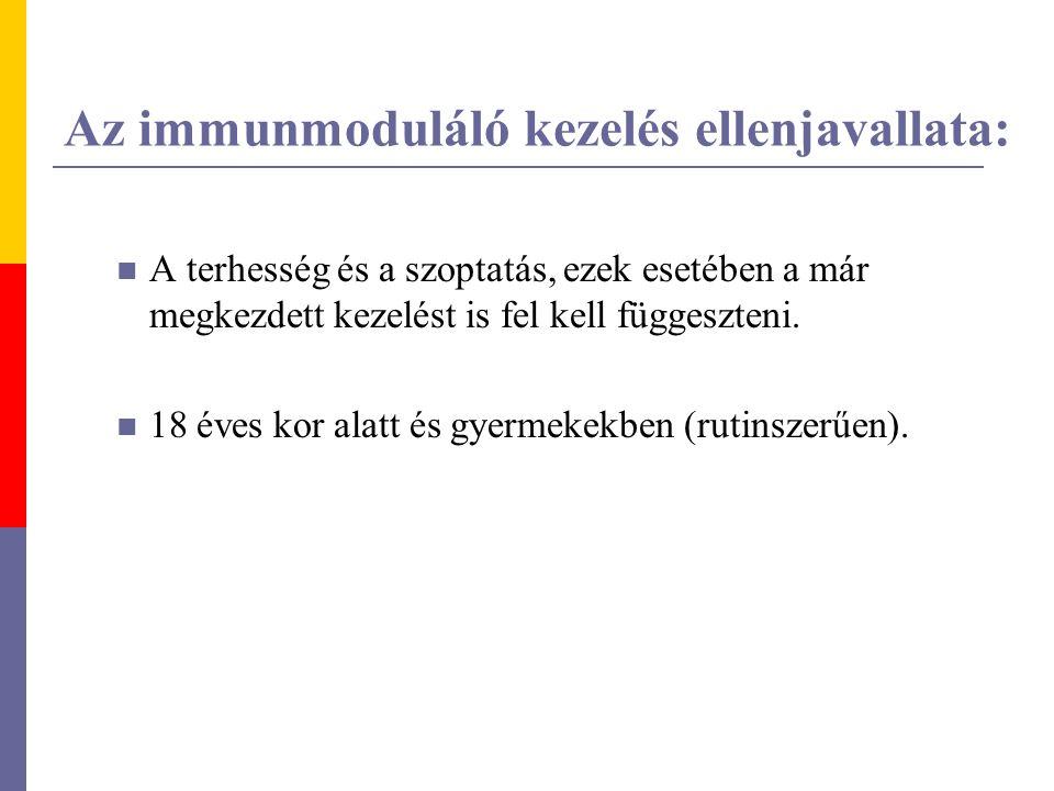 Az immunmoduláló kezelés ellenjavallata: