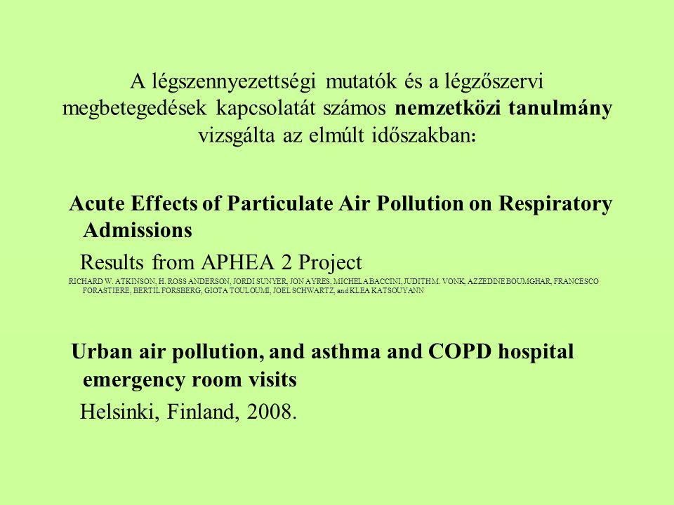 A légszennyezettségi mutatók és a légzőszervi megbetegedések kapcsolatát számos nemzetközi tanulmány vizsgálta az elmúlt időszakban: