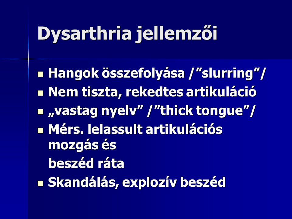Dysarthria jellemzői Hangok összefolyása / slurring /