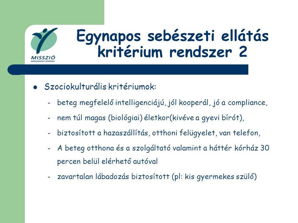 Egynapos sebészeti ellátás kritérium rendszer 2