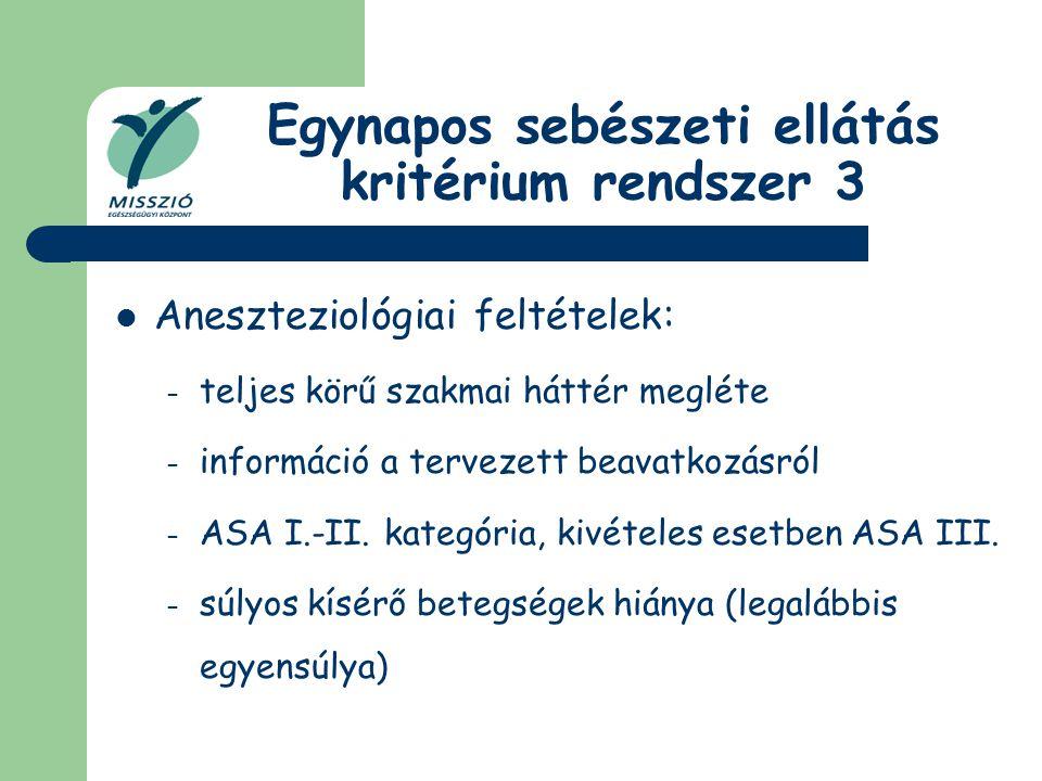Egynapos sebészeti ellátás kritérium rendszer 3