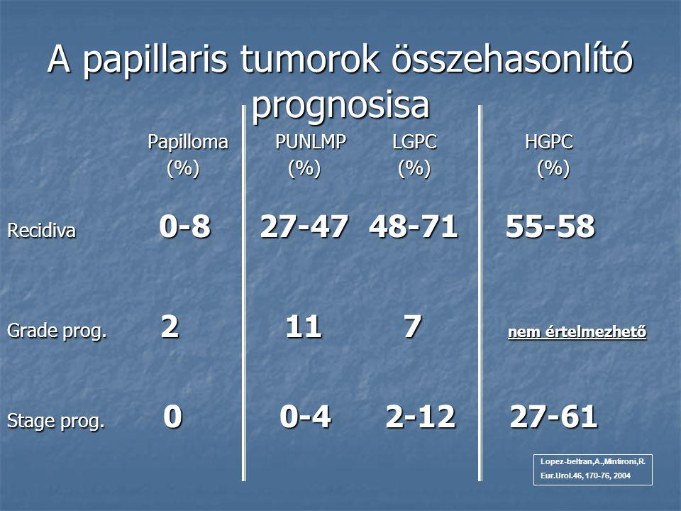 A papillaris tumorok összehasonlító prognosisa