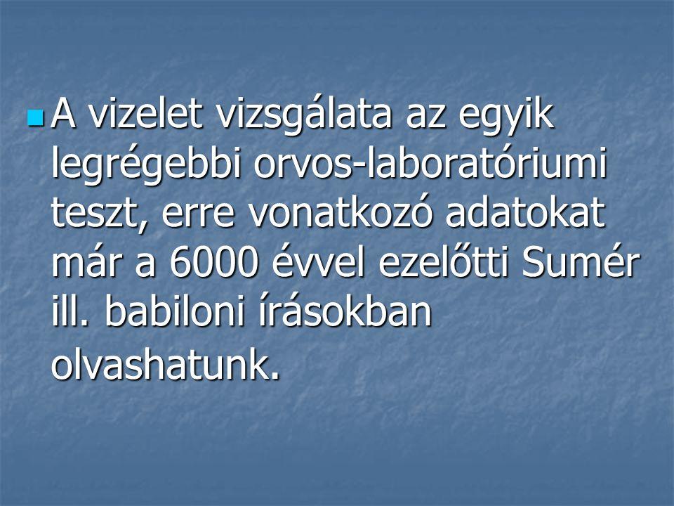 A vizelet vizsgálata az egyik legrégebbi orvos-laboratóriumi teszt, erre vonatkozó adatokat már a 6000 évvel ezelőtti Sumér ill.