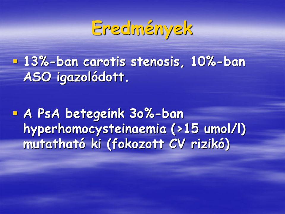 Eredmények 13%-ban carotis stenosis, 10%-ban ASO igazolódott.
