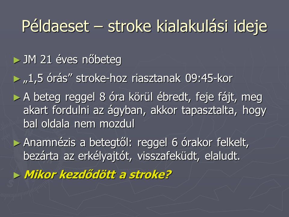 Példaeset – stroke kialakulási ideje