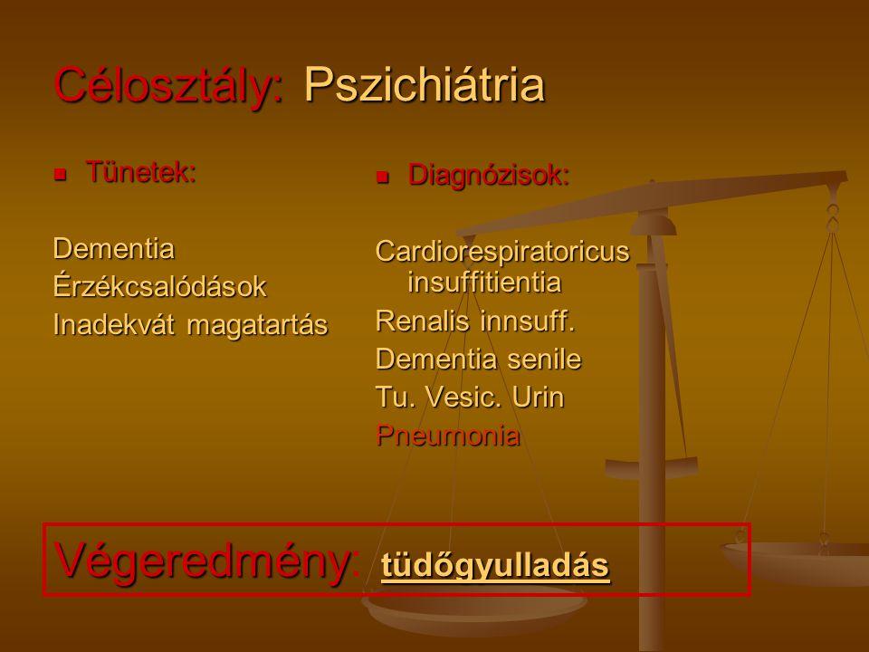 Célosztály: Pszichiátria