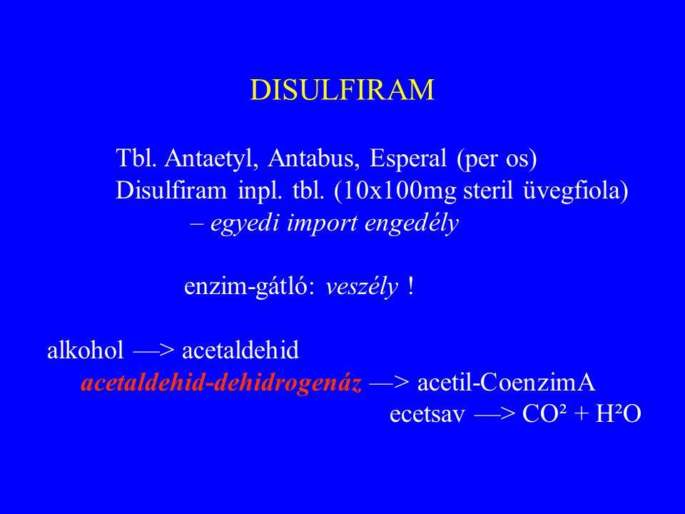DISULFIRAM Disulfiram inpl. tbl. (10x100mg steril üvegfiola)