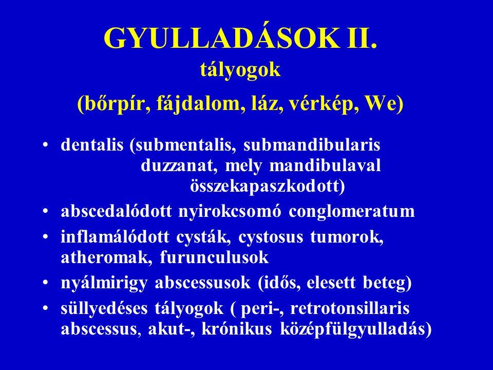 GYULLADÁSOK II. tályogok (bőrpír, fájdalom, láz, vérkép, We)