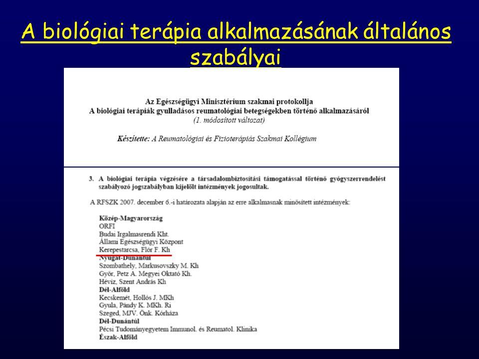 A biológiai terápia alkalmazásának általános