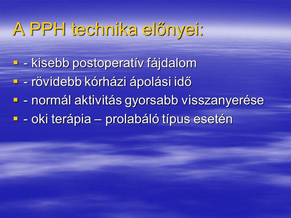 A PPH technika előnyei: