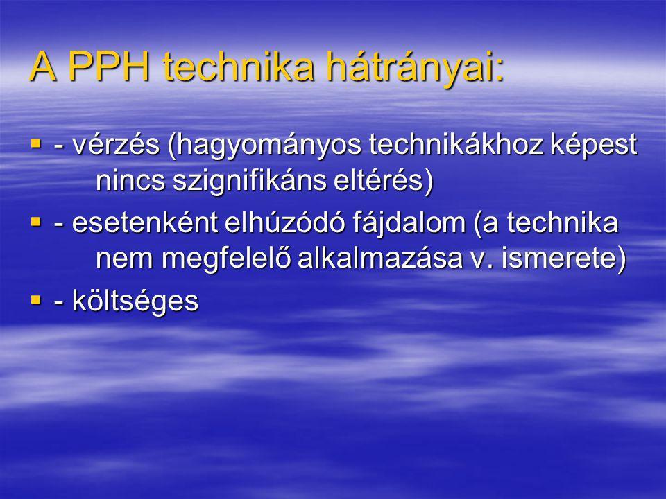 A PPH technika hátrányai: