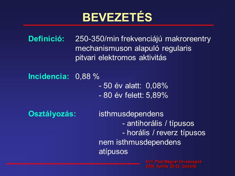 BEVEZETÉS Definició: 250-350/min frekvenciájú makroreentry mechanismuson alapuló regularis. pitvari elektromos aktivitás.
