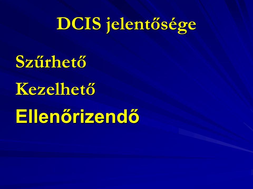 DCIS jelentősége Szűrhető Kezelhető Ellenőrizendő
