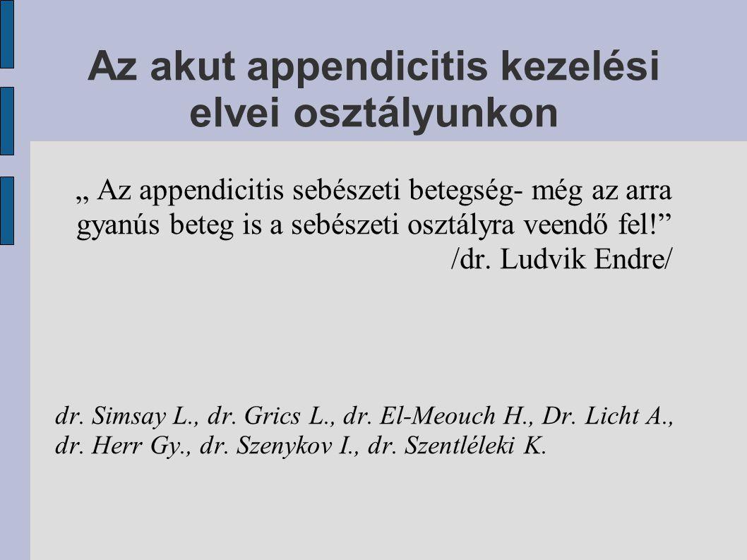 Az akut appendicitis kezelési elvei osztályunkon