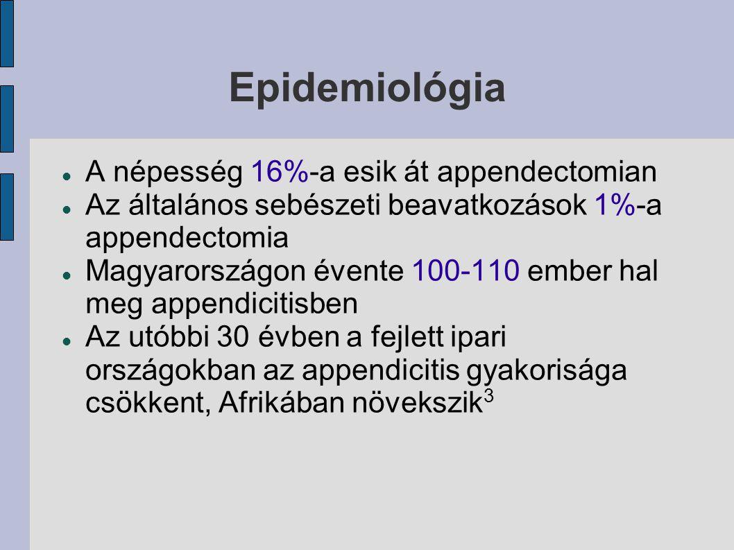 Epidemiológia A népesség 16%-a esik át appendectomian