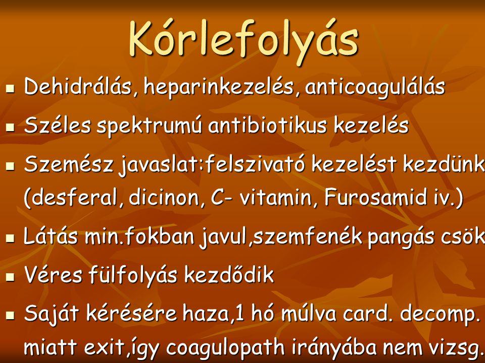 Kórlefolyás Dehidrálás, heparinkezelés, anticoagulálás