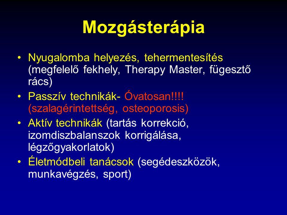 Mozgásterápia Nyugalomba helyezés, tehermentesítés (megfelelő fekhely, Therapy Master, fügesztő rács)