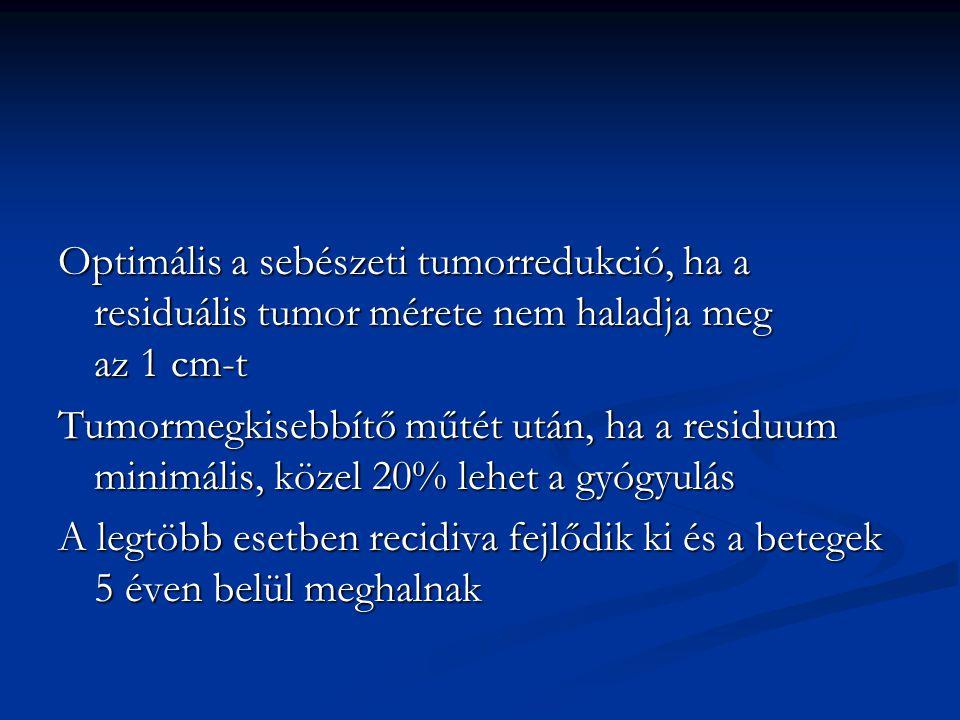 Optimális a sebészeti tumorredukció, ha a residuális tumor mérete nem haladja meg az 1 cm-t