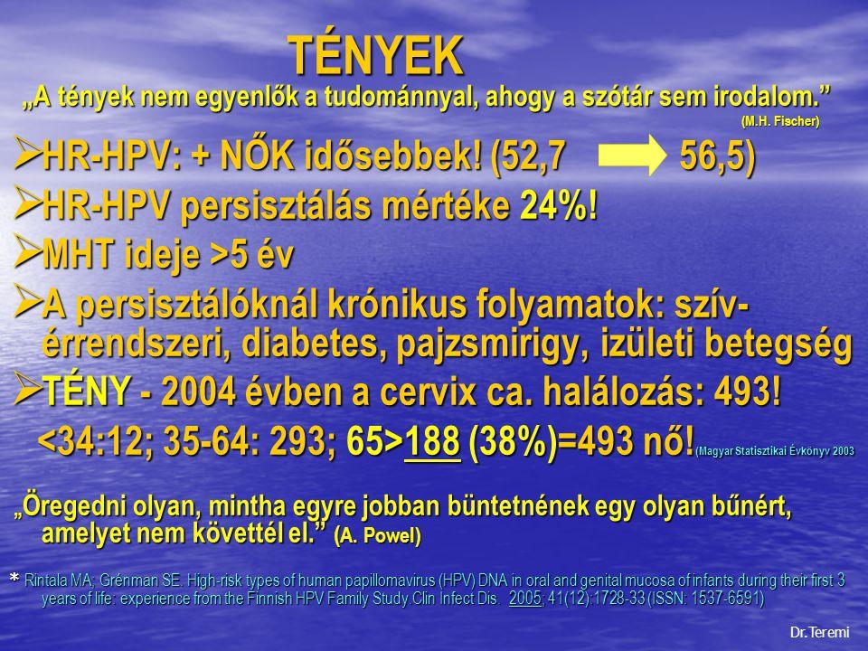 TÉNYEK HR-HPV: + NŐK idősebbek! (52,7 56,5)