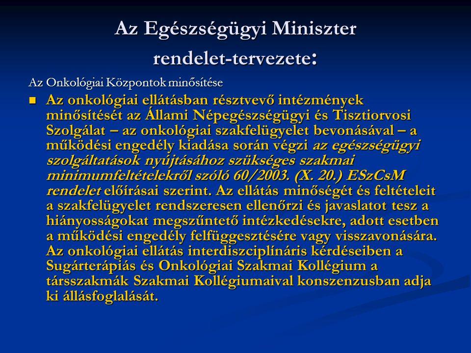 Az Egészségügyi Miniszter rendelet-tervezete: