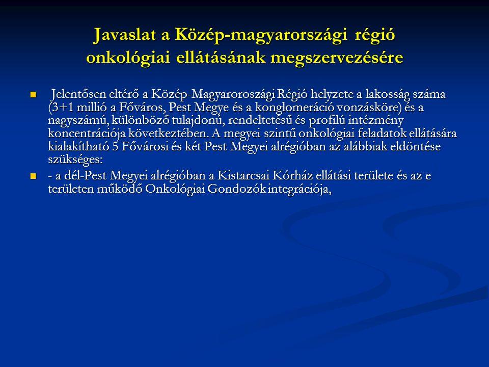 Javaslat a Közép-magyarországi régió onkológiai ellátásának megszervezésére