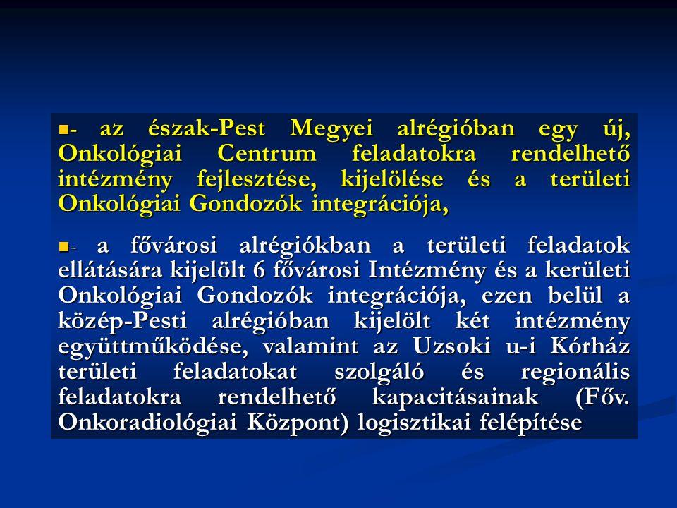 - az észak-Pest Megyei alrégióban egy új, Onkológiai Centrum feladatokra rendelhető intézmény fejlesztése, kijelölése és a területi Onkológiai Gondozók integrációja,