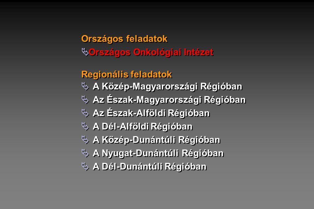 Országos feladatok Országos Onkológiai Intézet. Regionális feladatok. A Közép-Magyarországi Régióban.
