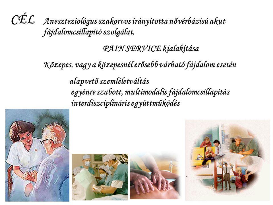 CÉL Aneszteziológus szakorvos irányította nővérbázisú akut fájdalomcsillapító szolgálat, PAIN SERVICE kialakítása.