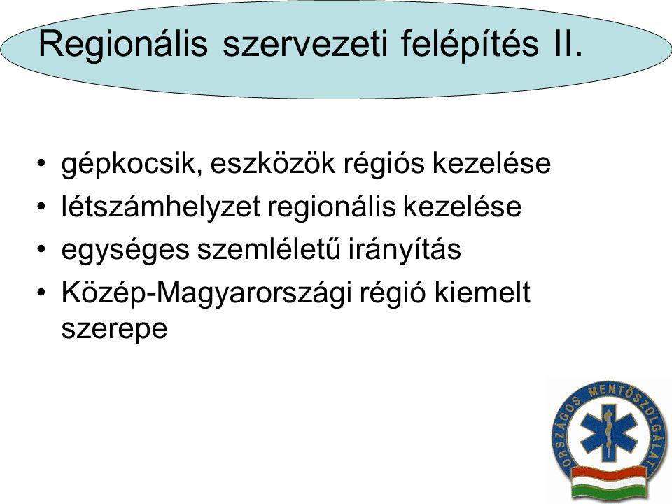 Regionális szervezeti felépítés II.