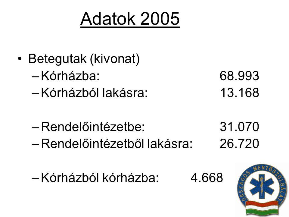 Adatok 2005 Betegutak (kivonat) Kórházba: 68.993