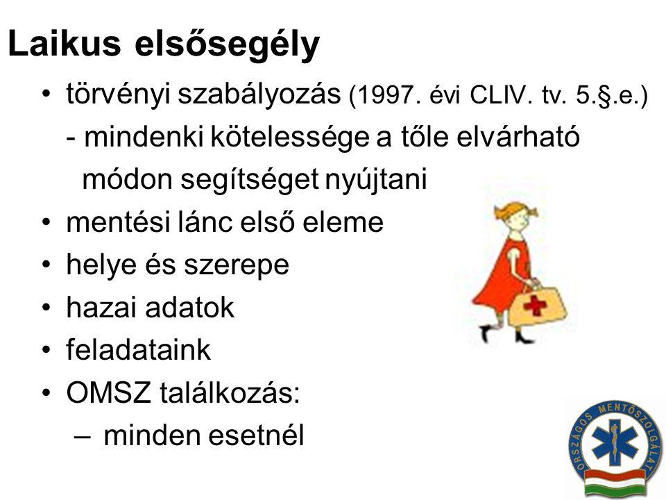 Laikus elsősegély törvényi szabályozás (1997. évi CLIV. tv. 5.§.e.)