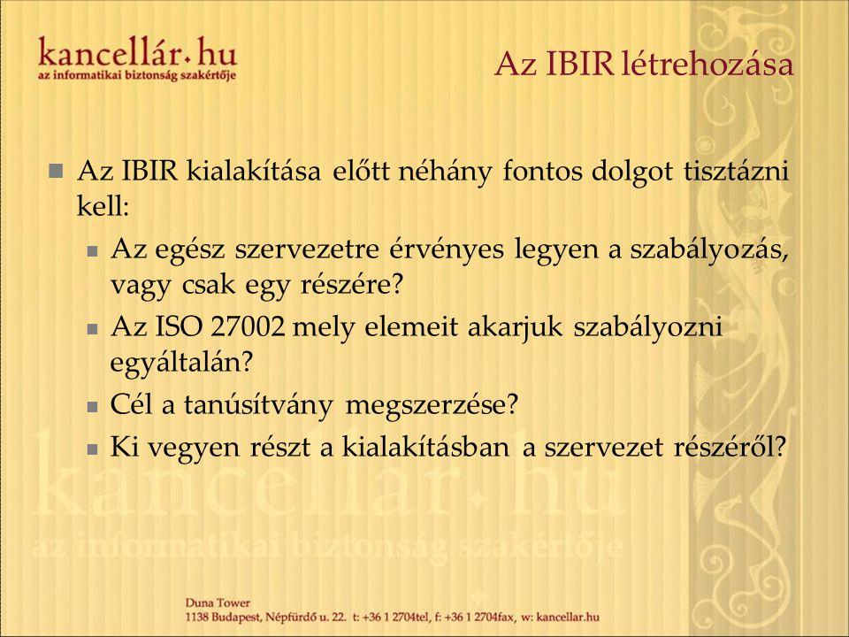 Az IBIR létrehozása Az IBIR kialakítása előtt néhány fontos dolgot tisztázni kell: